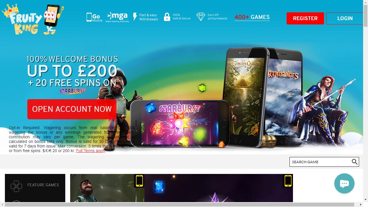 Fruityking Casino Homepage