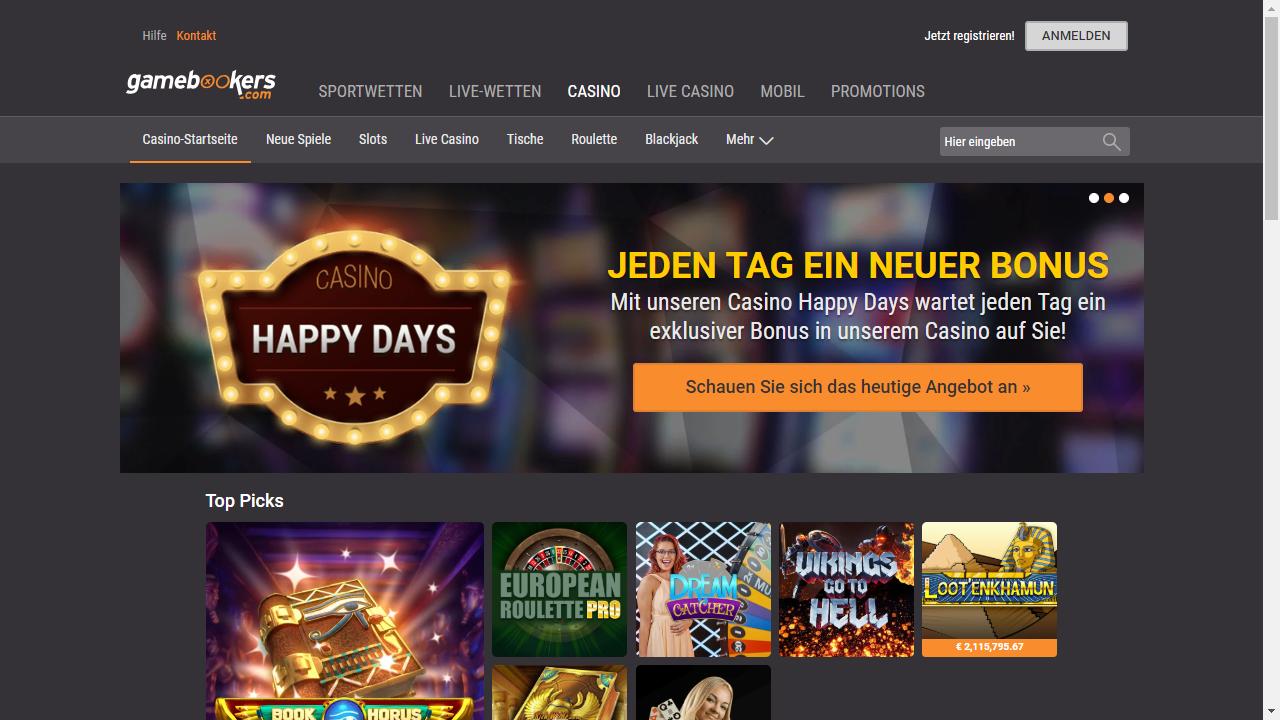 Gamebookers Casino Homepage