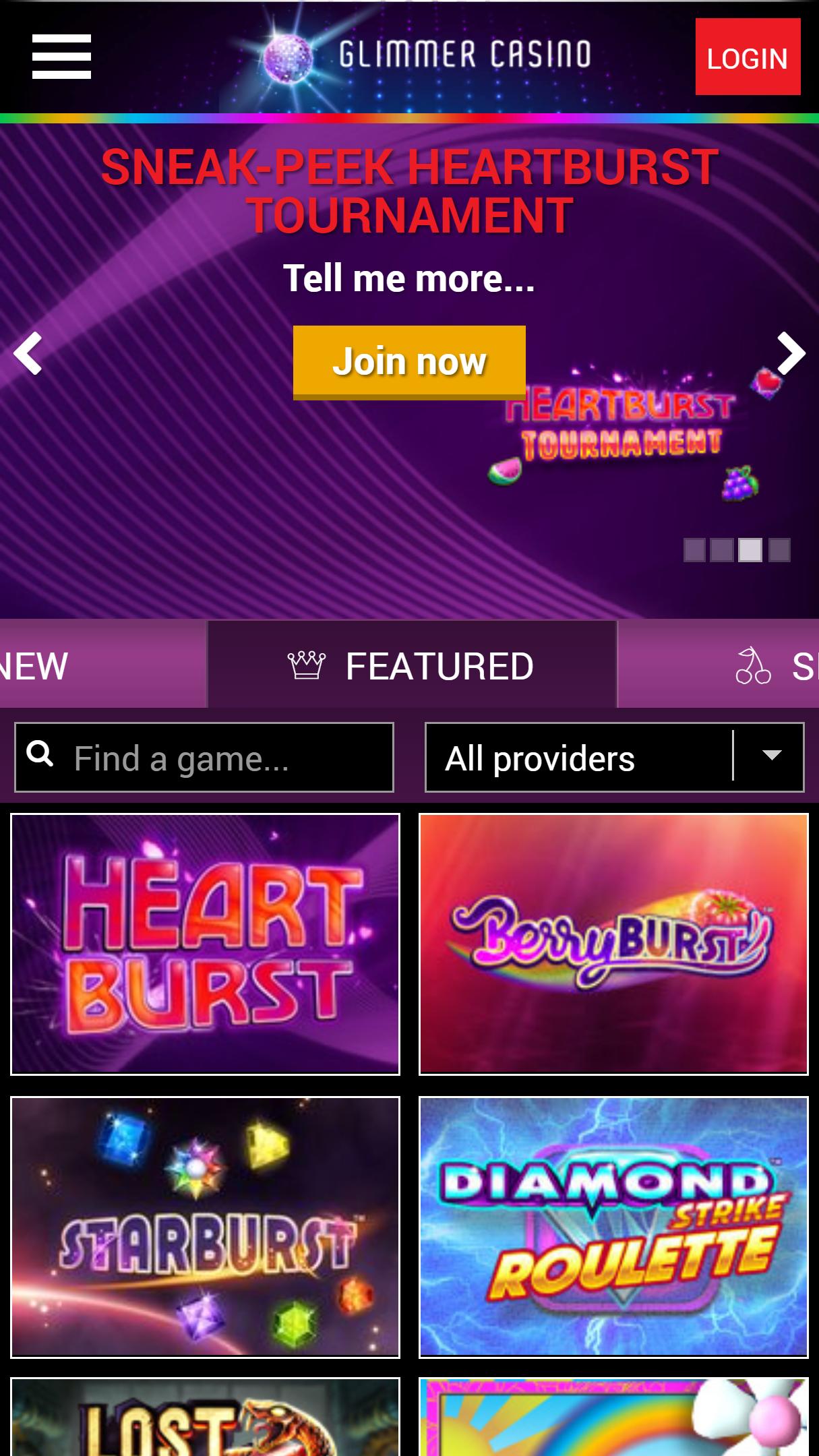 Glimmer Casino App Homepage
