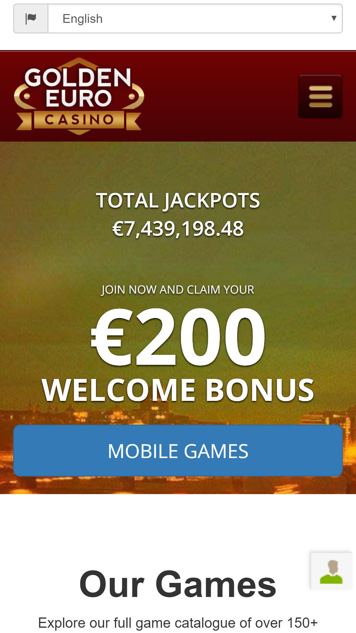 Golden Euro Casino App Homepage