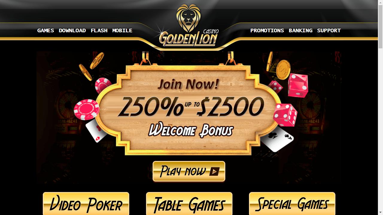 Golden Lion Casino Homepage