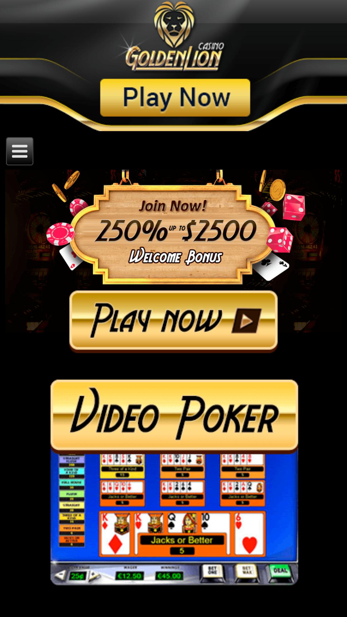 Golden Lion Casino App Homepage