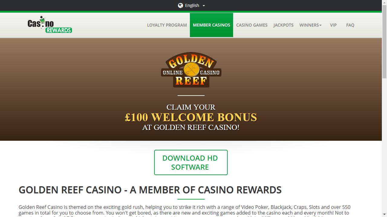 Golden Reef Casino Homepage