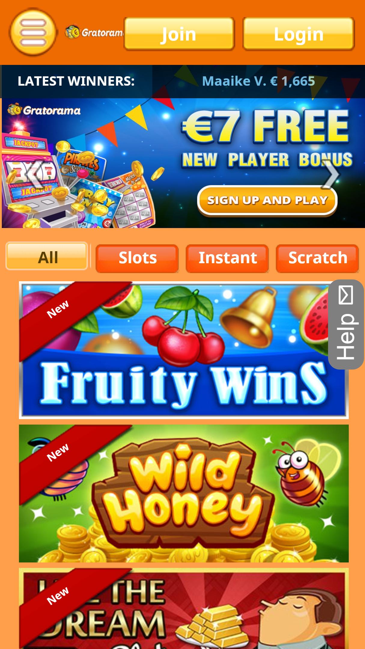 Gratorama App Homepage