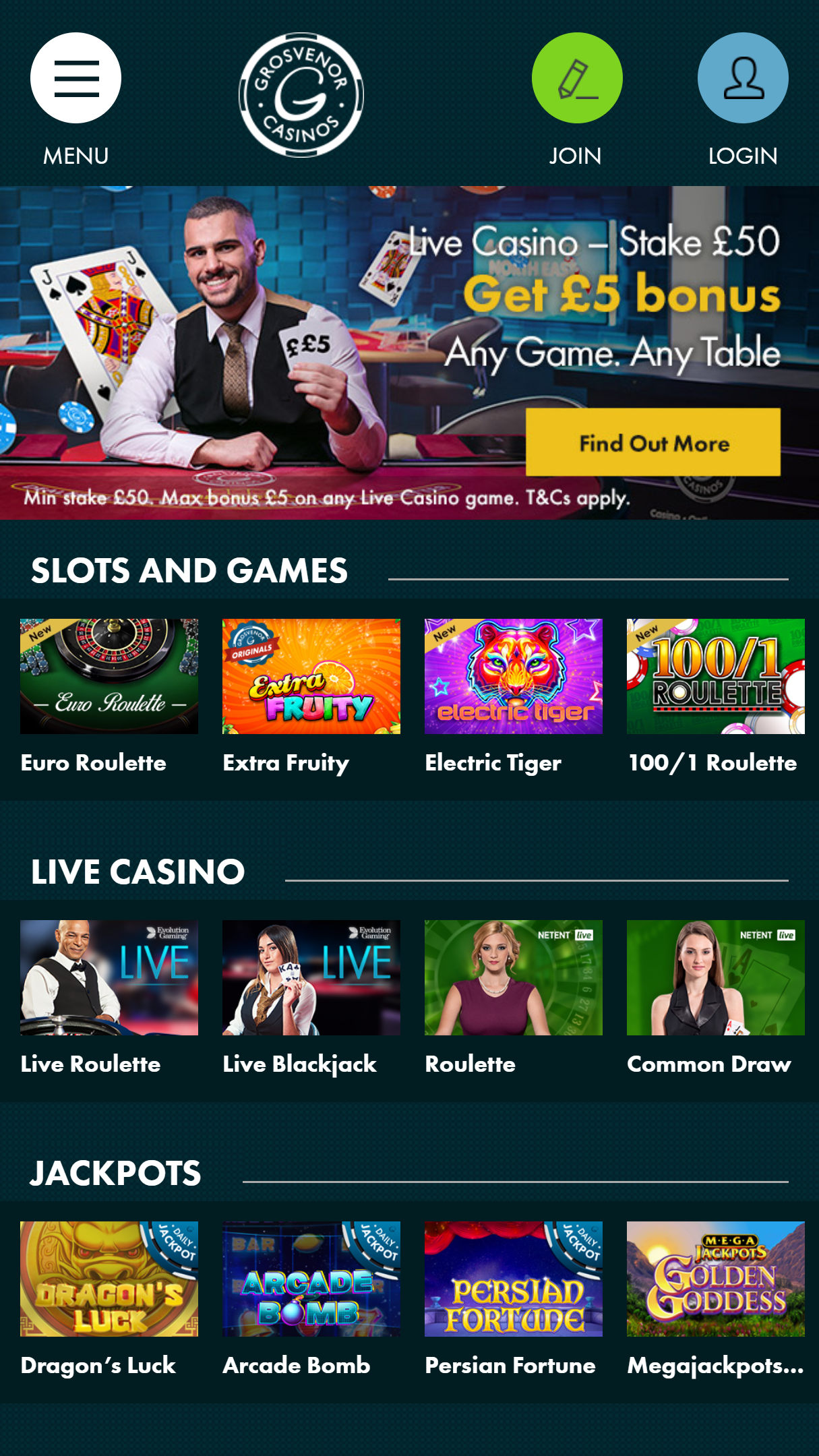 Grosvenor Casino App Homepage