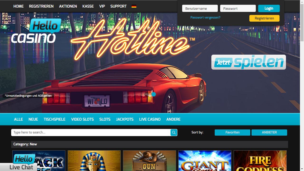 Hello Casino Homepage