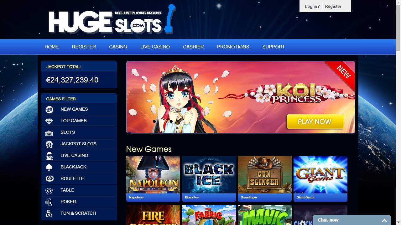 HugeSlots Casino Homepage