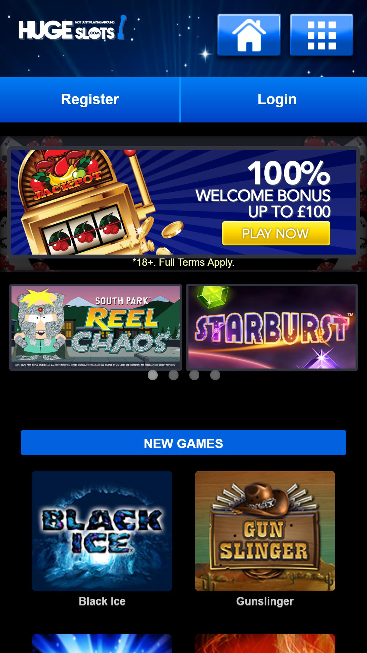 HugeSlots Casino App Homepage