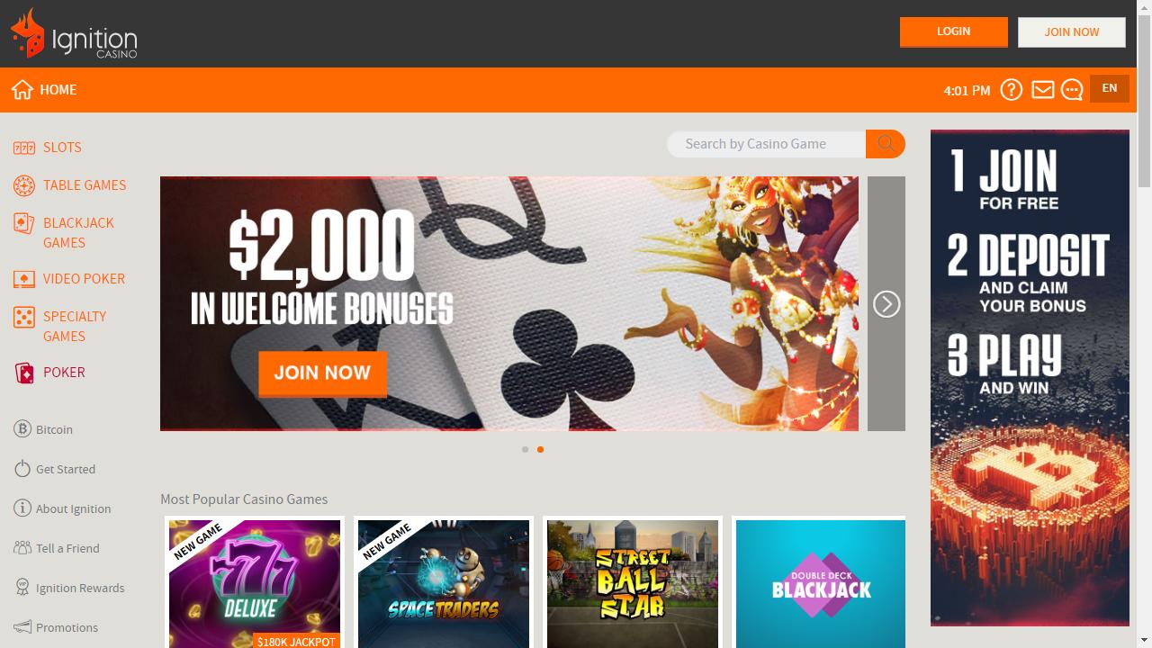 Ignition Casino Homepage