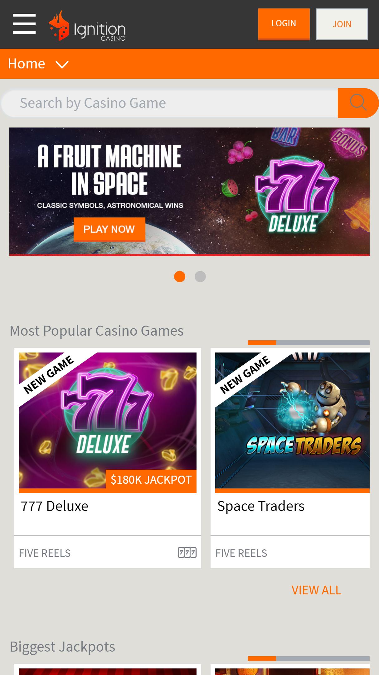 Ignition Casino App Homepage