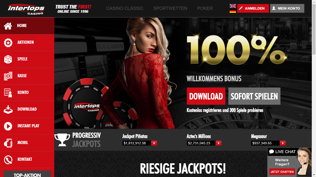 Intertops Casino Homepage