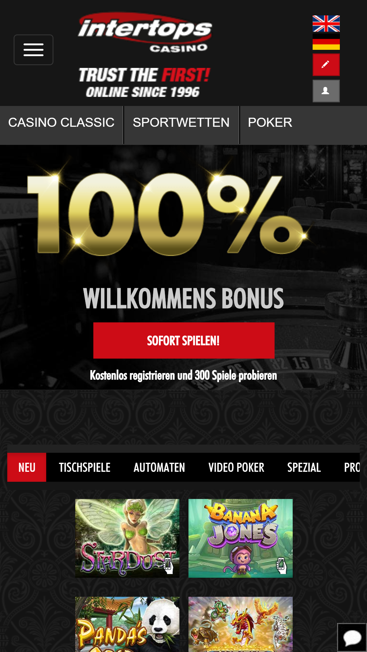 Intertops Casino App Homepage