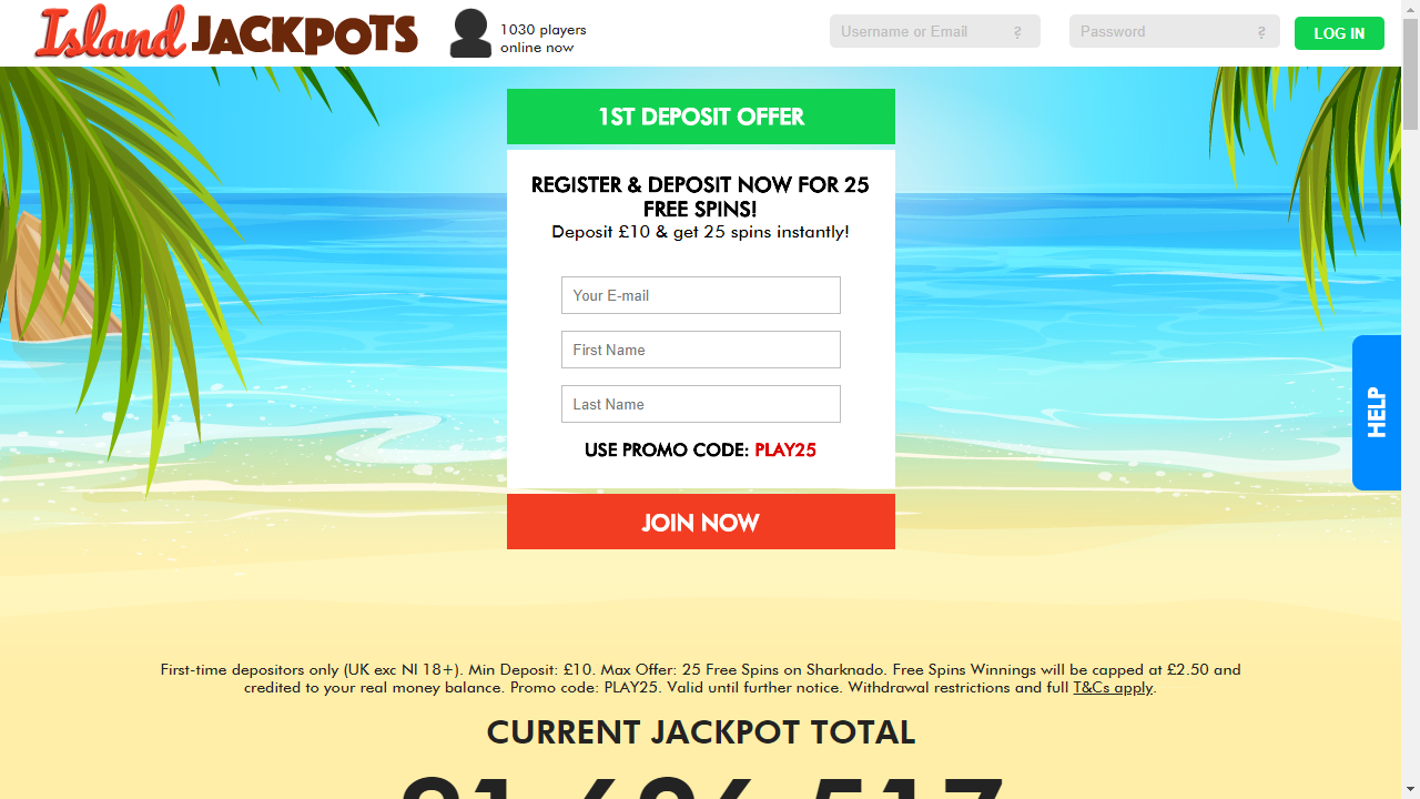 Island Jackpots Homepage