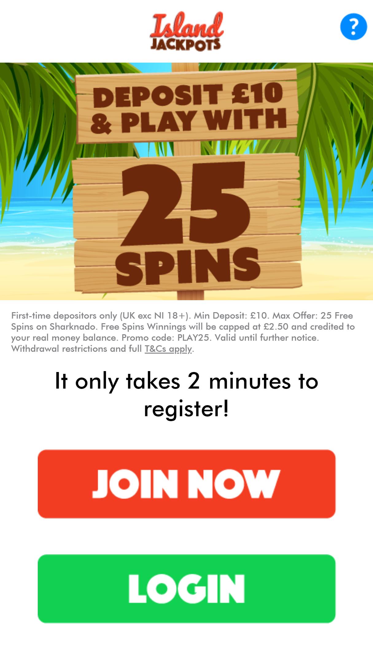 Island Jackpots App Homepage