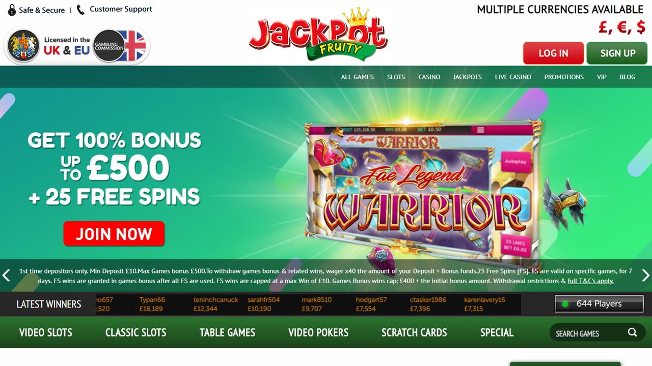 Jackpot Fruity Homepage