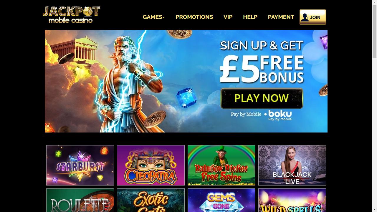 Jackpot Mobile Casino Homepage