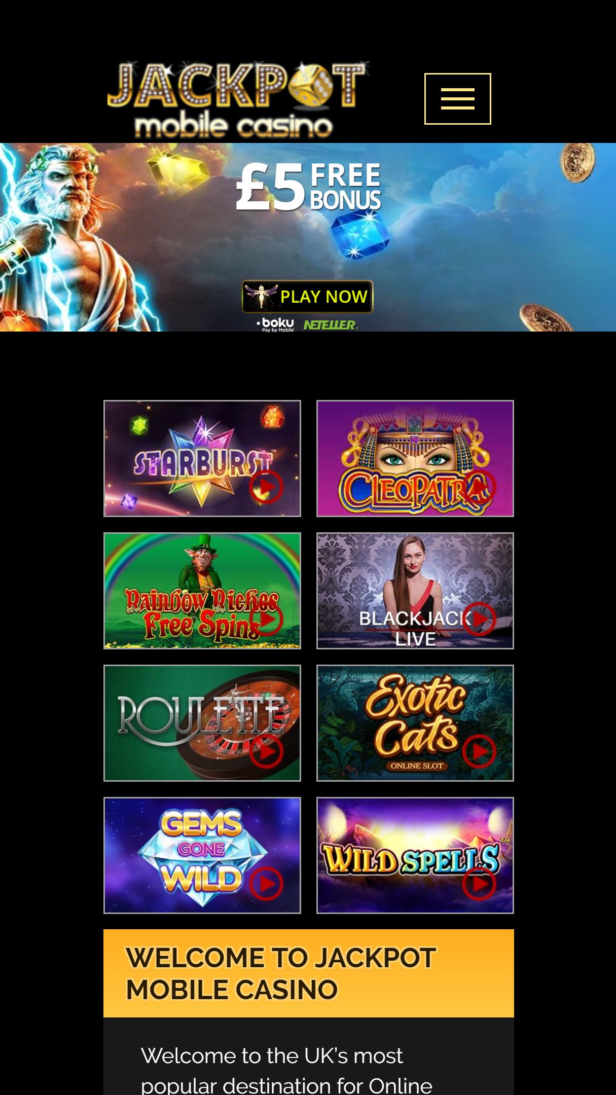 Jackpot Mobile Casino App Homepage