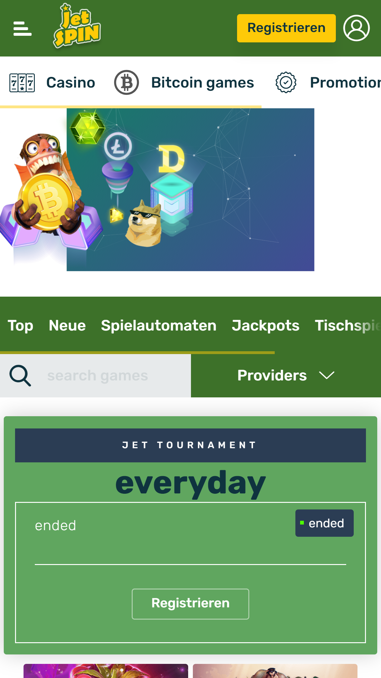JetSpin App Homepage
