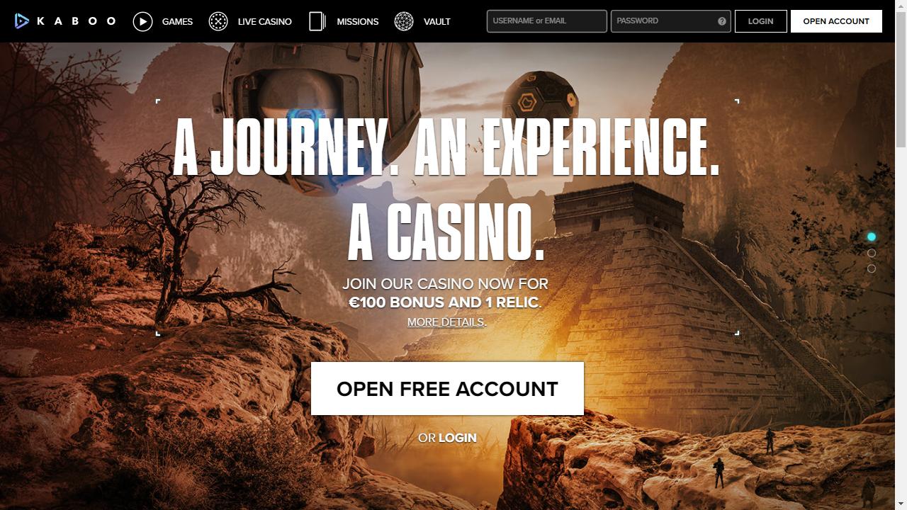 Kaboo Casino Homepage