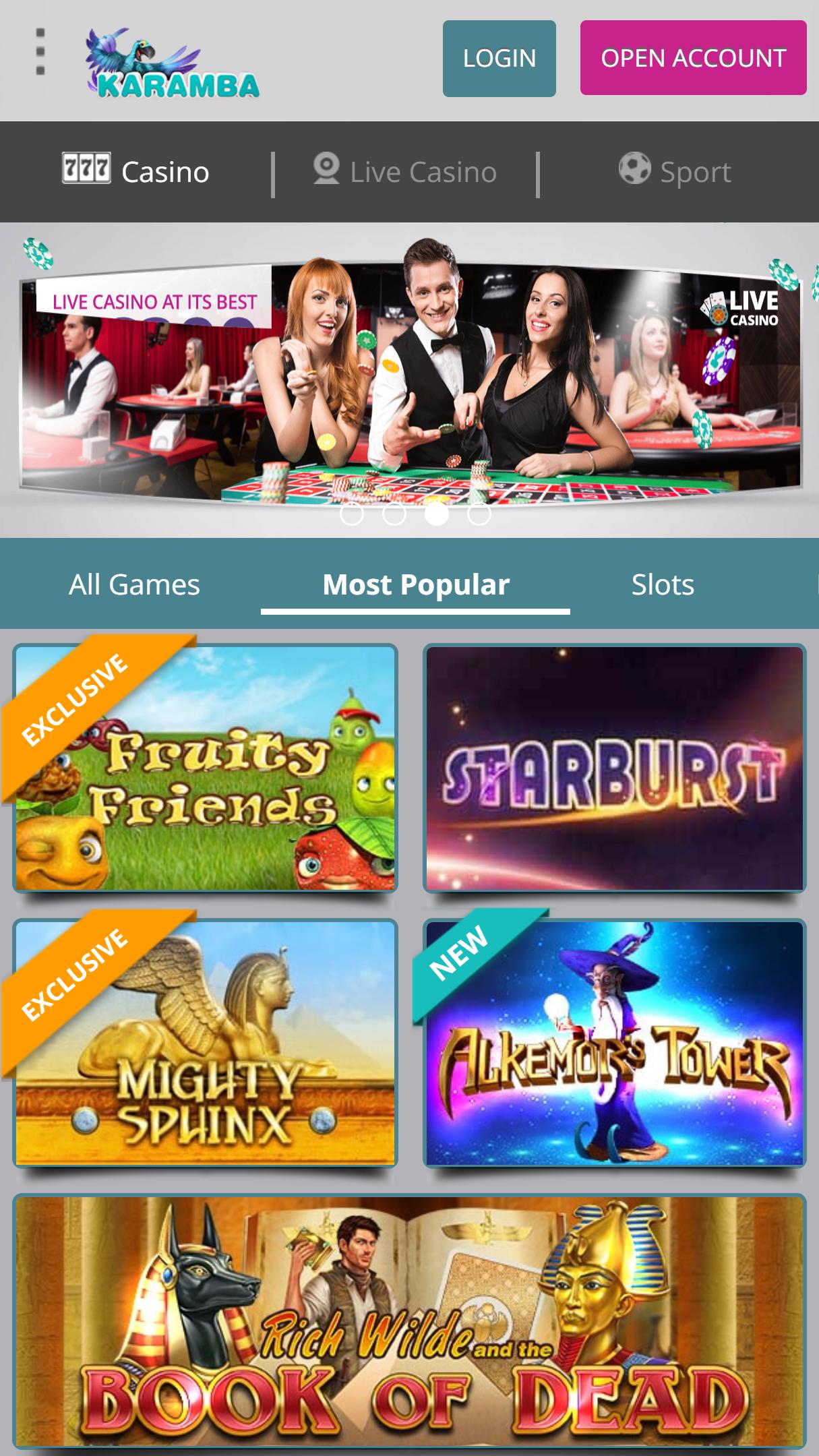 Karamba Casino App Homepage