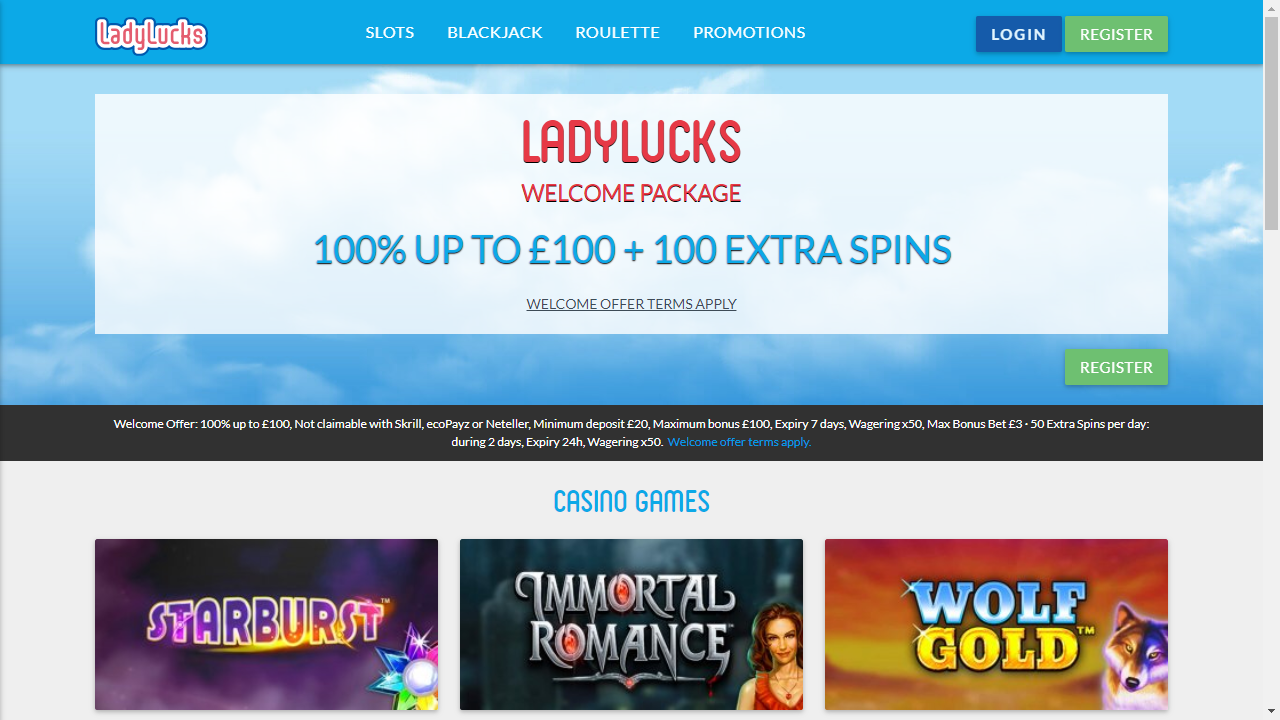 Lady Lucks Casino Homepage