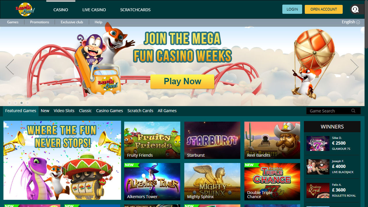 Luckland Casino Homepage