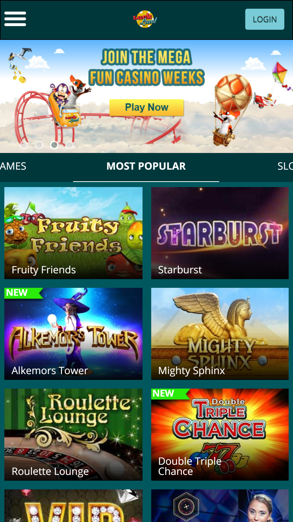 Luckland Casino App Homepage