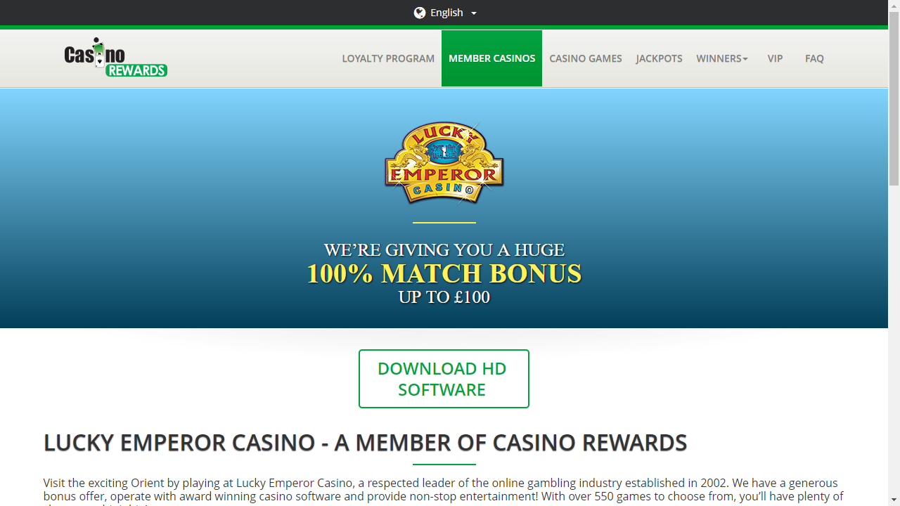 Lucky Emperor Casino Homepage