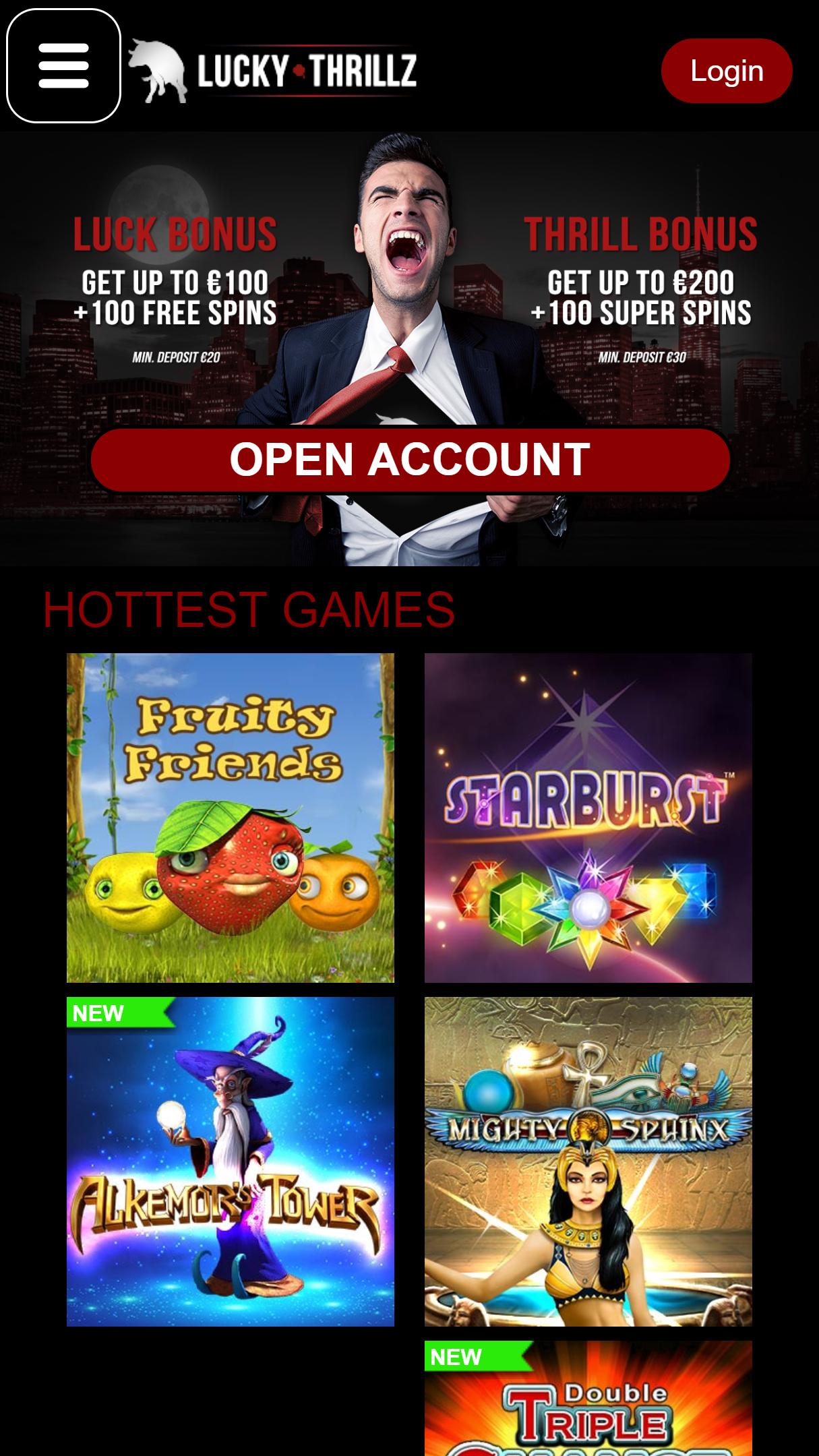 Lucky Thrillz App Homepage
