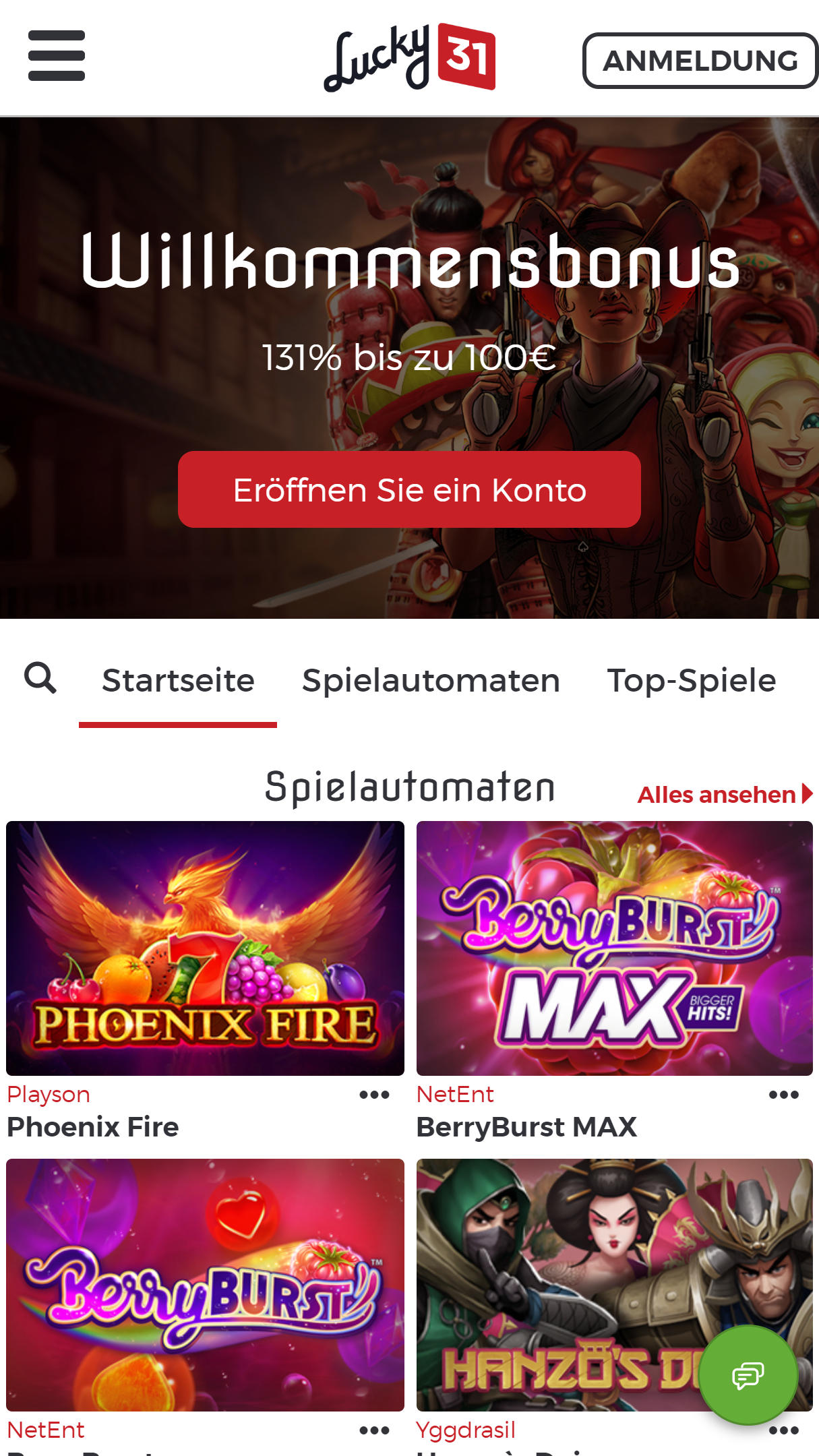 Lucky31 Casino App Homepage
