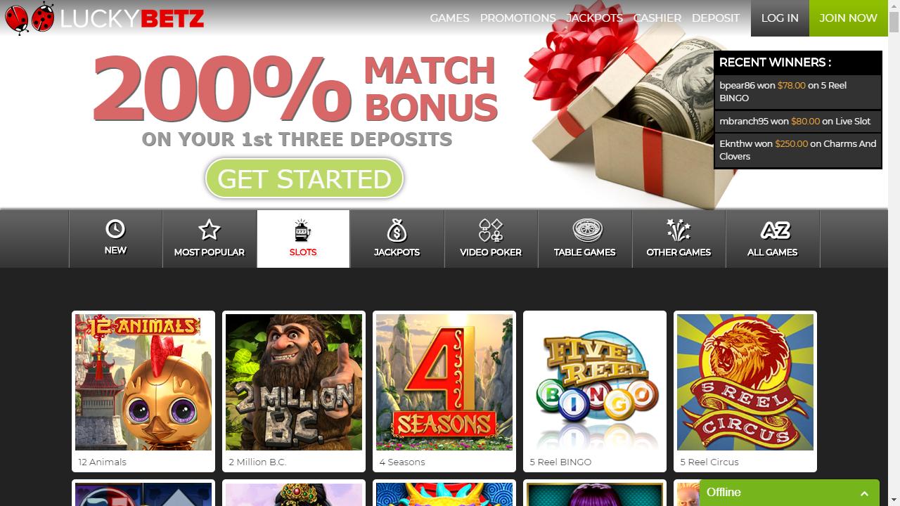 LuckyBetz Casino Homepage