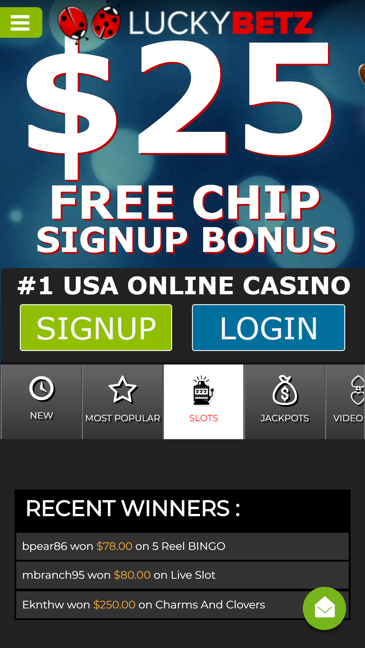 LuckyBetz Casino App Homepage