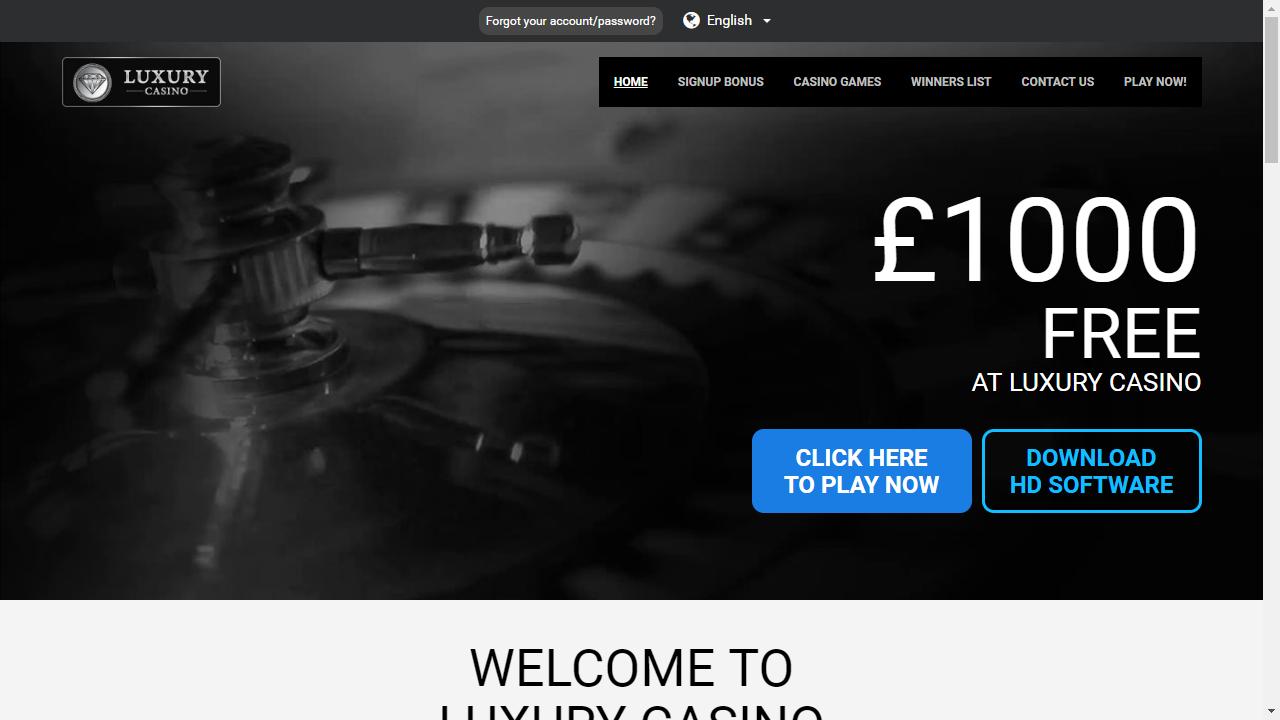 Luxury Casino Homepage