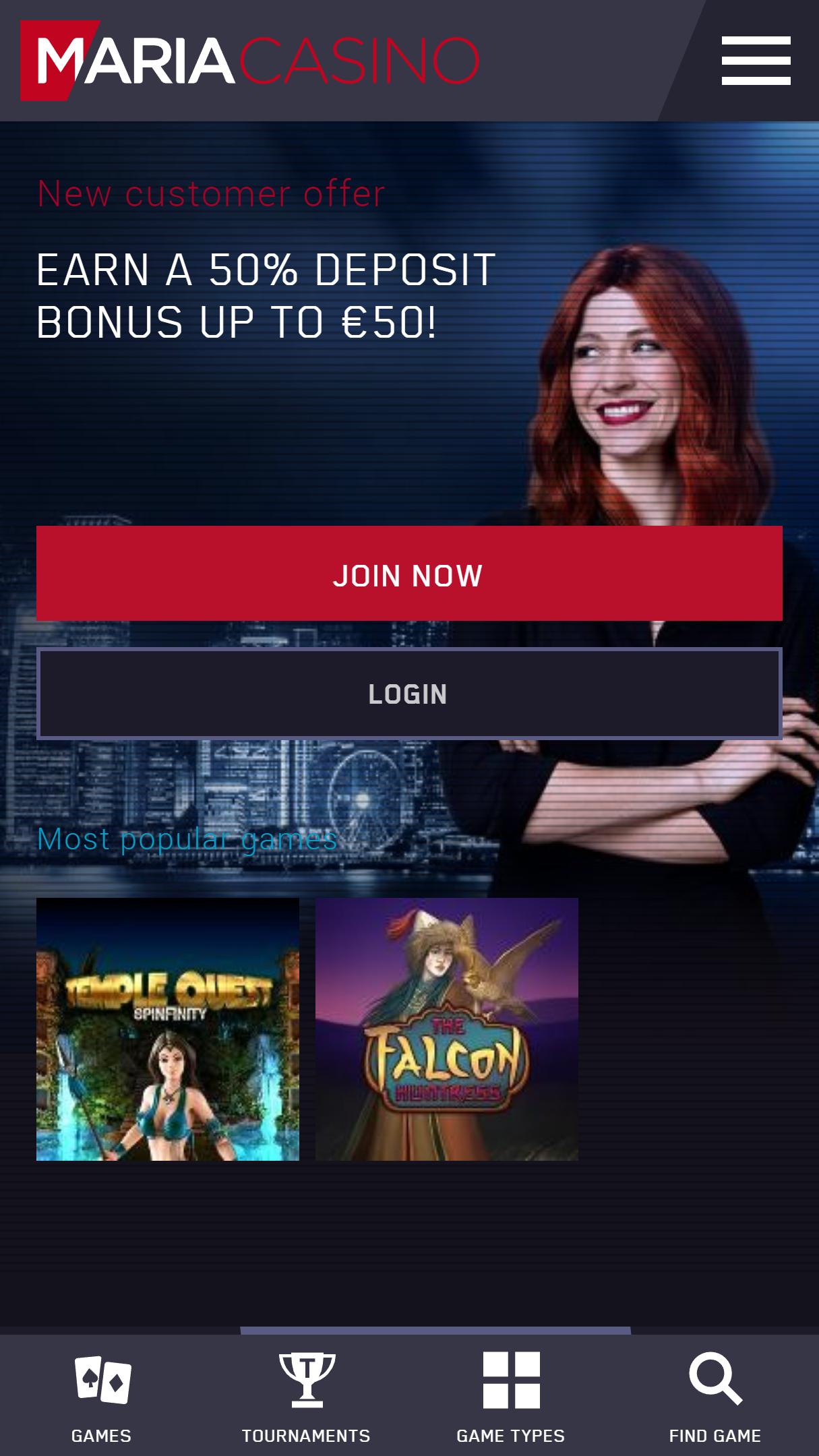 Maria Casino App Homepage