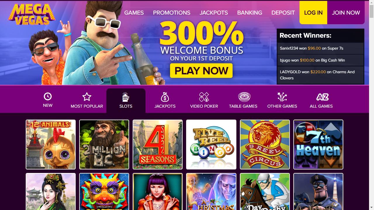Mega Vegas Casino Homepage