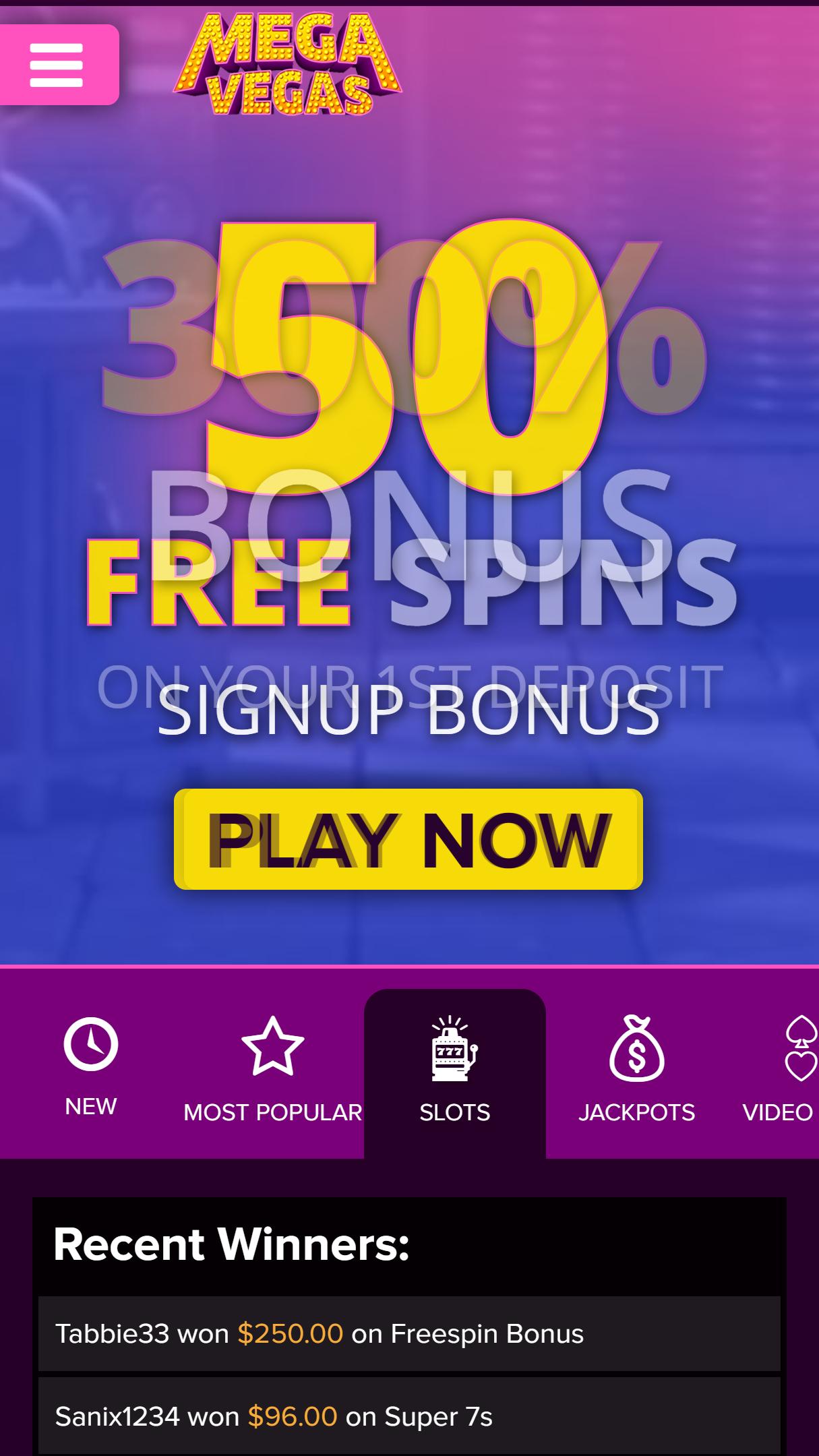 Mega Vegas Casino App Homepage