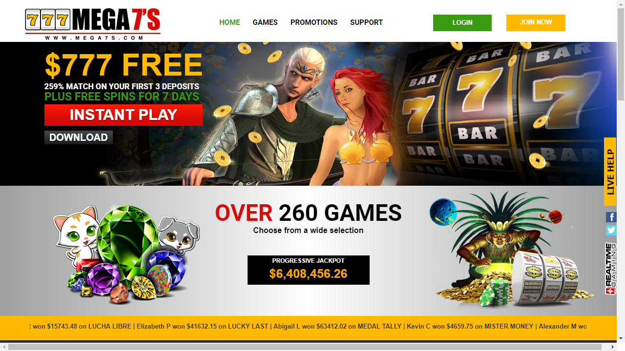 Mega7s Casino Homepage