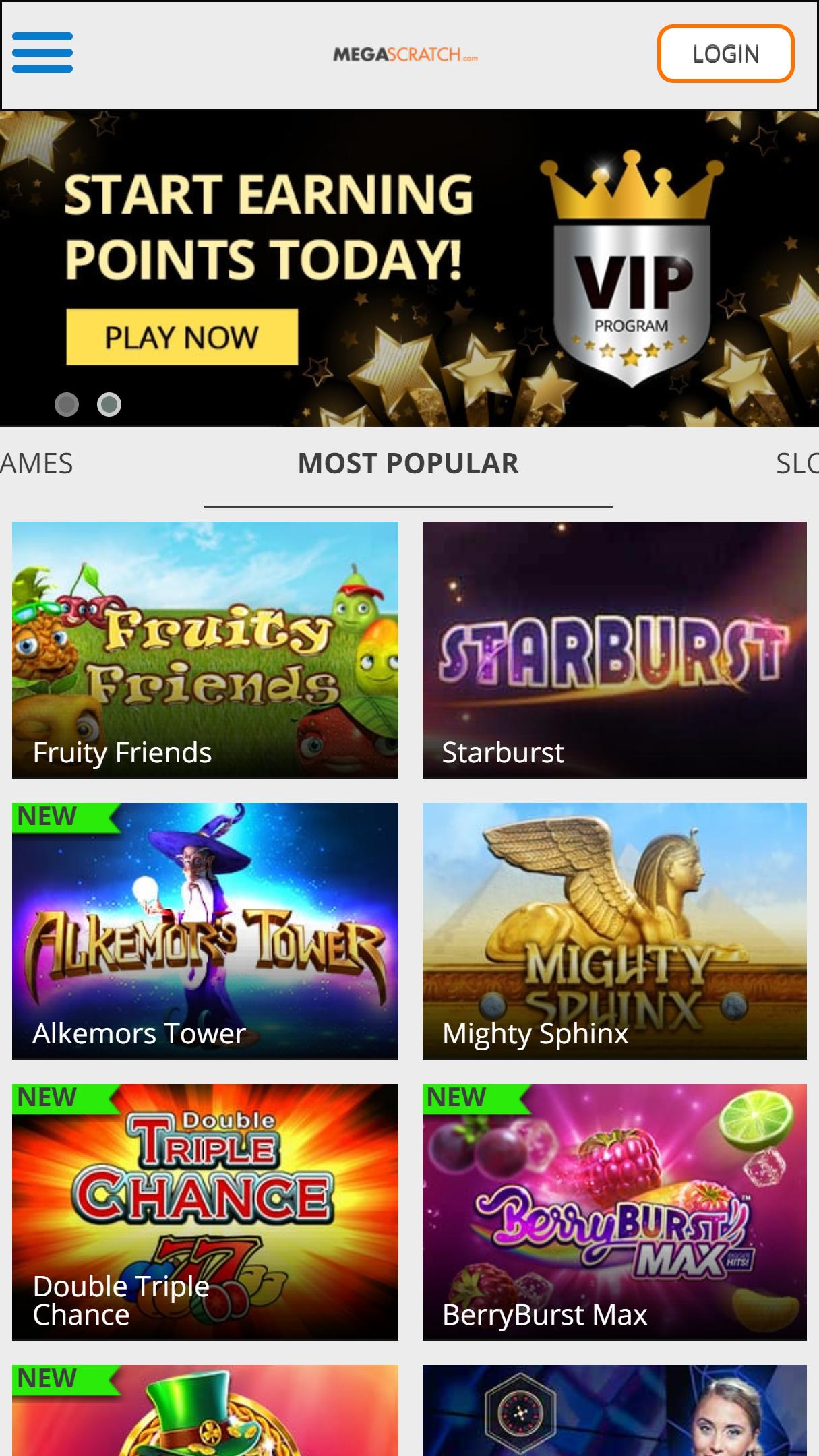 Megascratch App Homepage