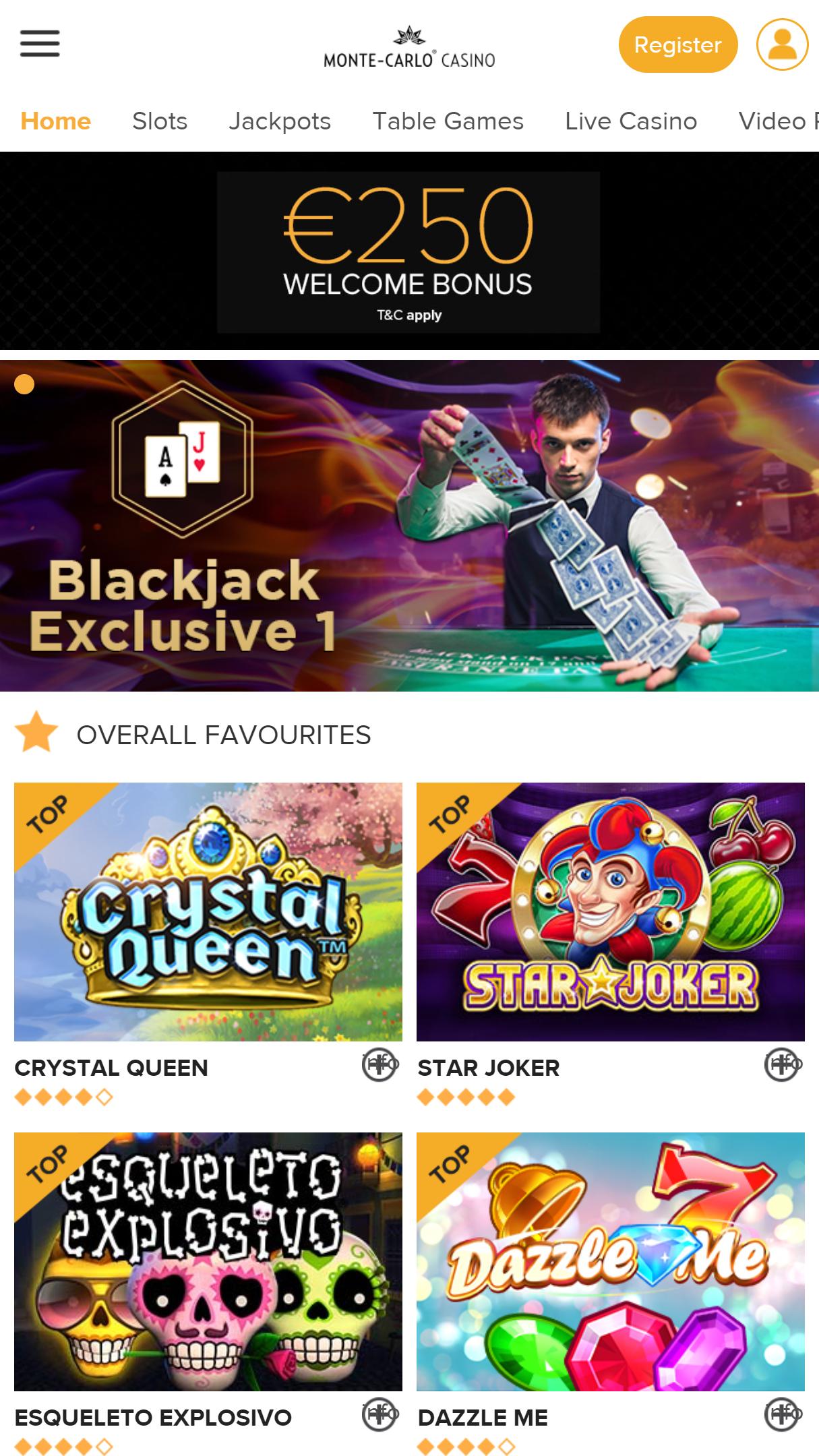 Monte-Carlo Casino App Homepage