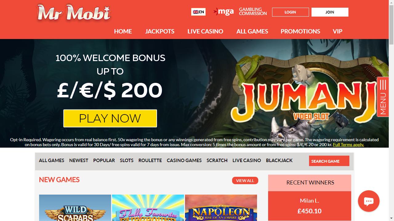 Mr Mobi Casino Homepage