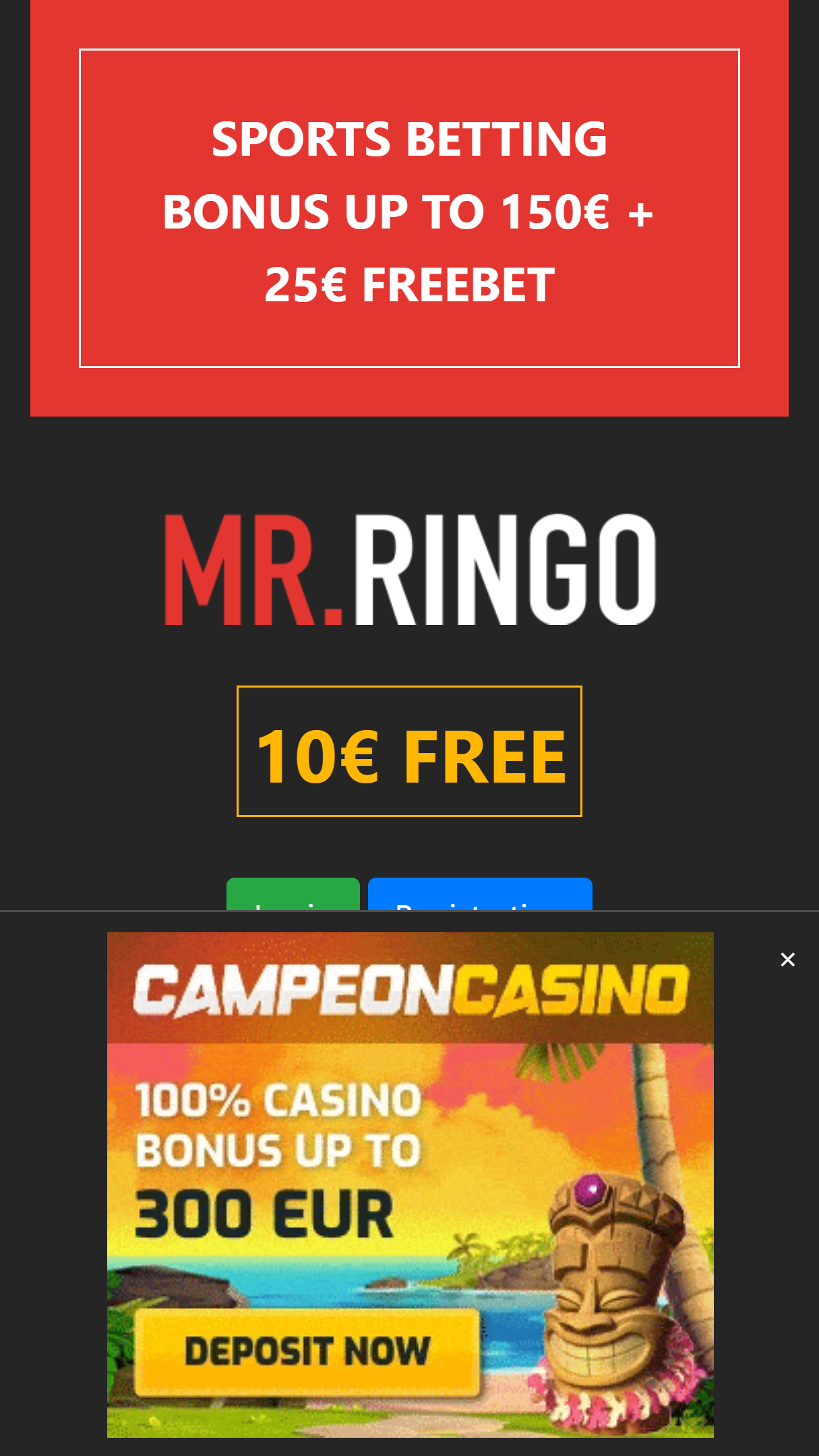 Mr Ringo Casino App Homepage
