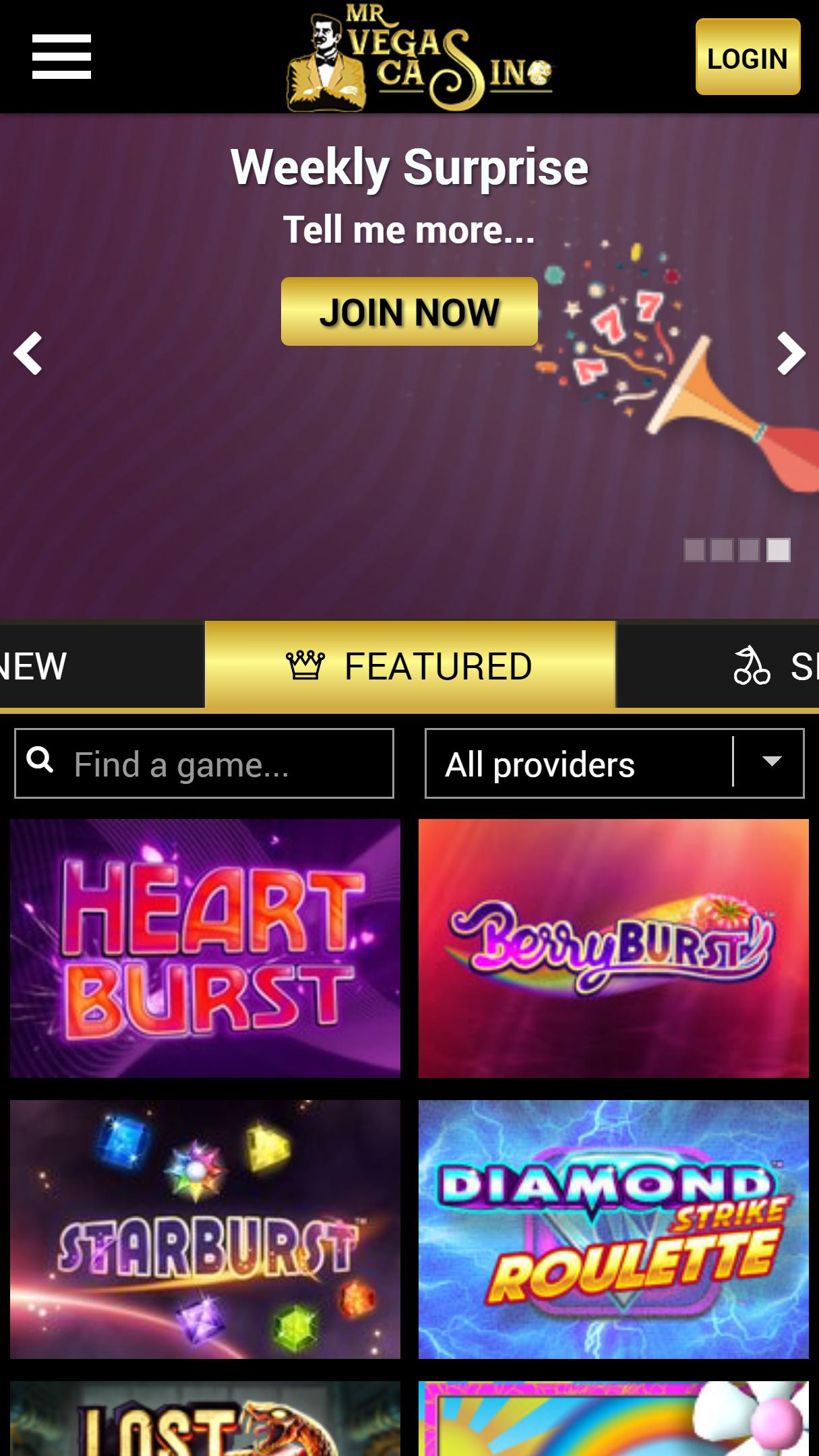 Mr Vegas Casino App Homepage