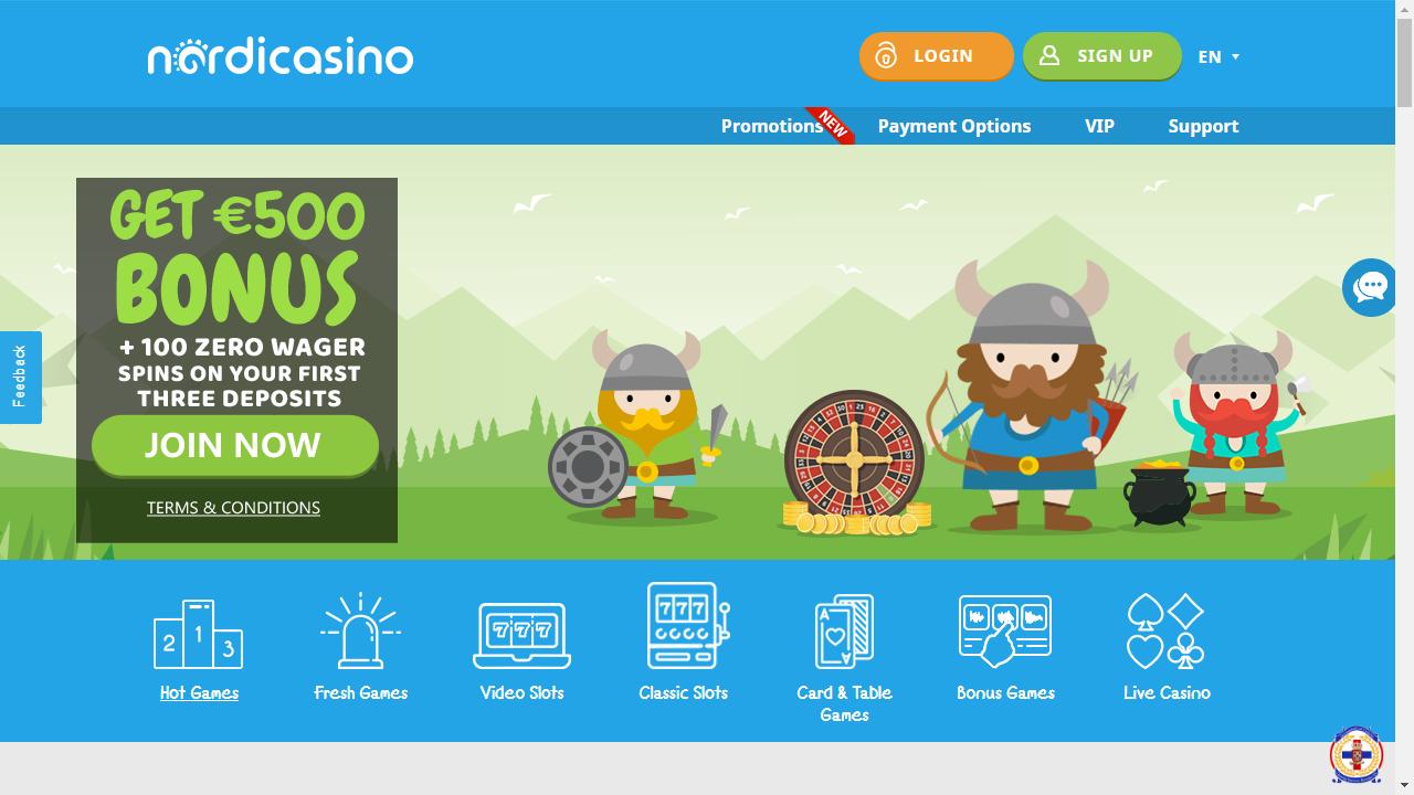 Nordicasino Homepage