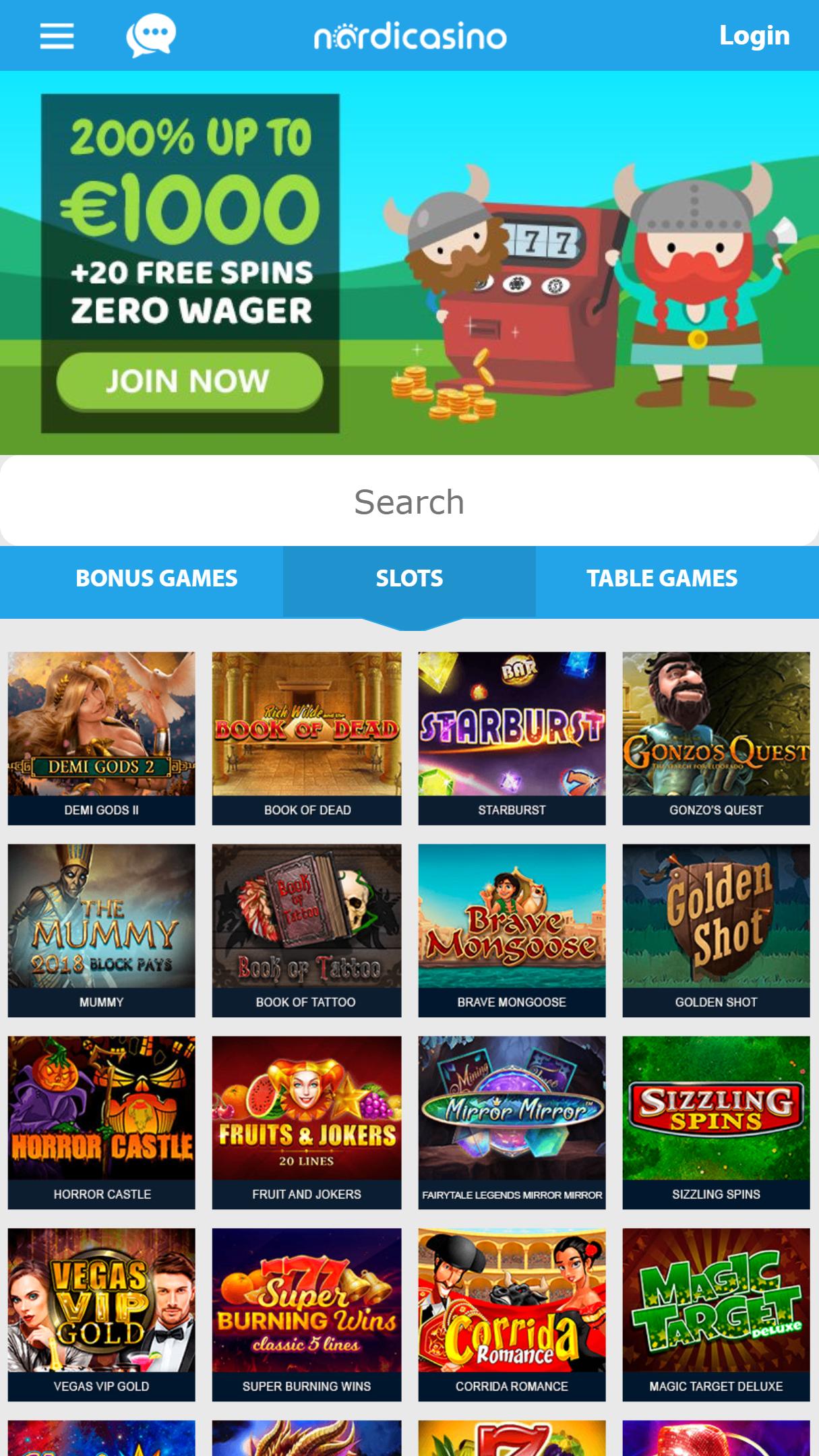 Nordicasino App Homepage