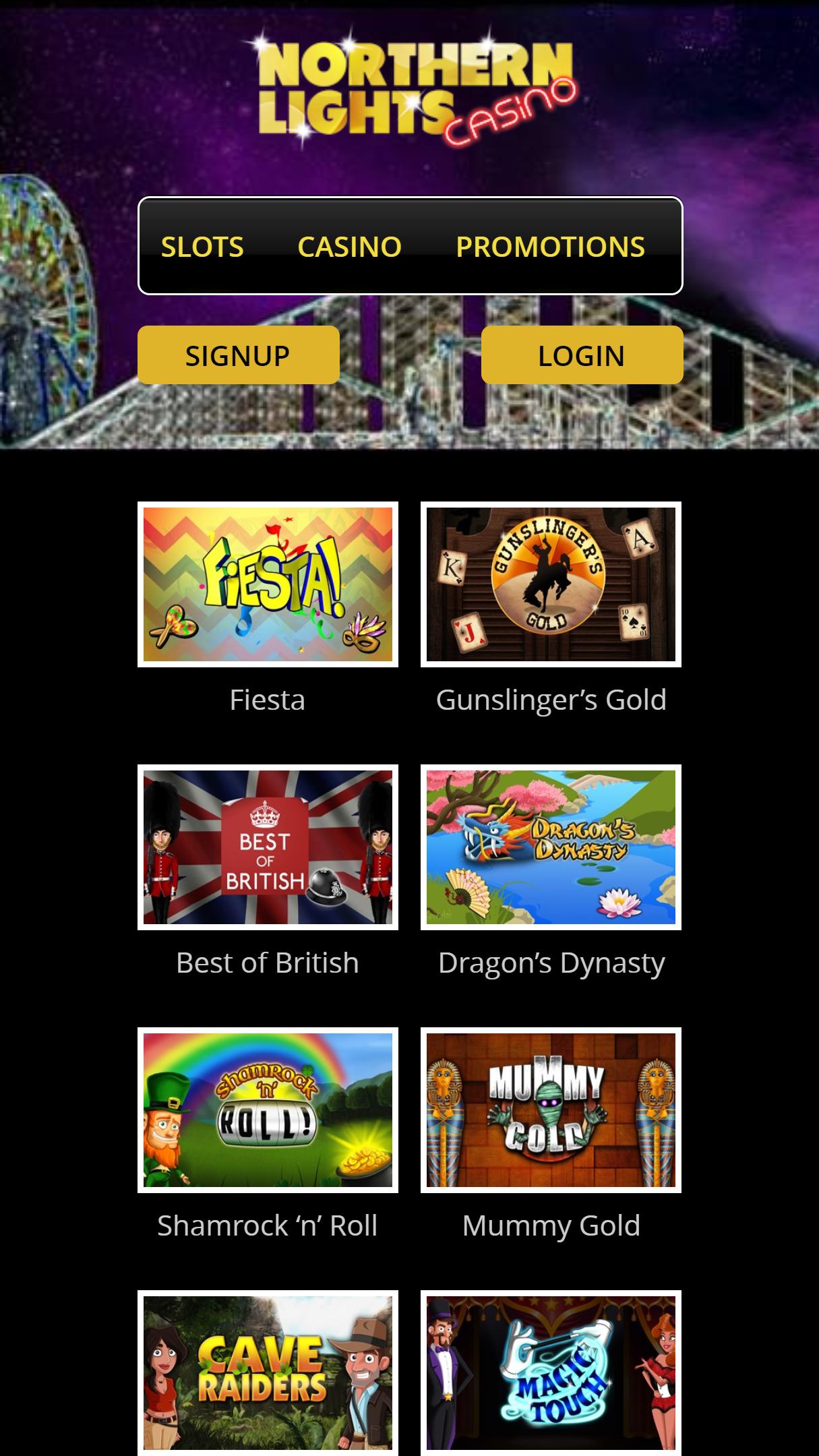 Northern Lights Casino App Homepage