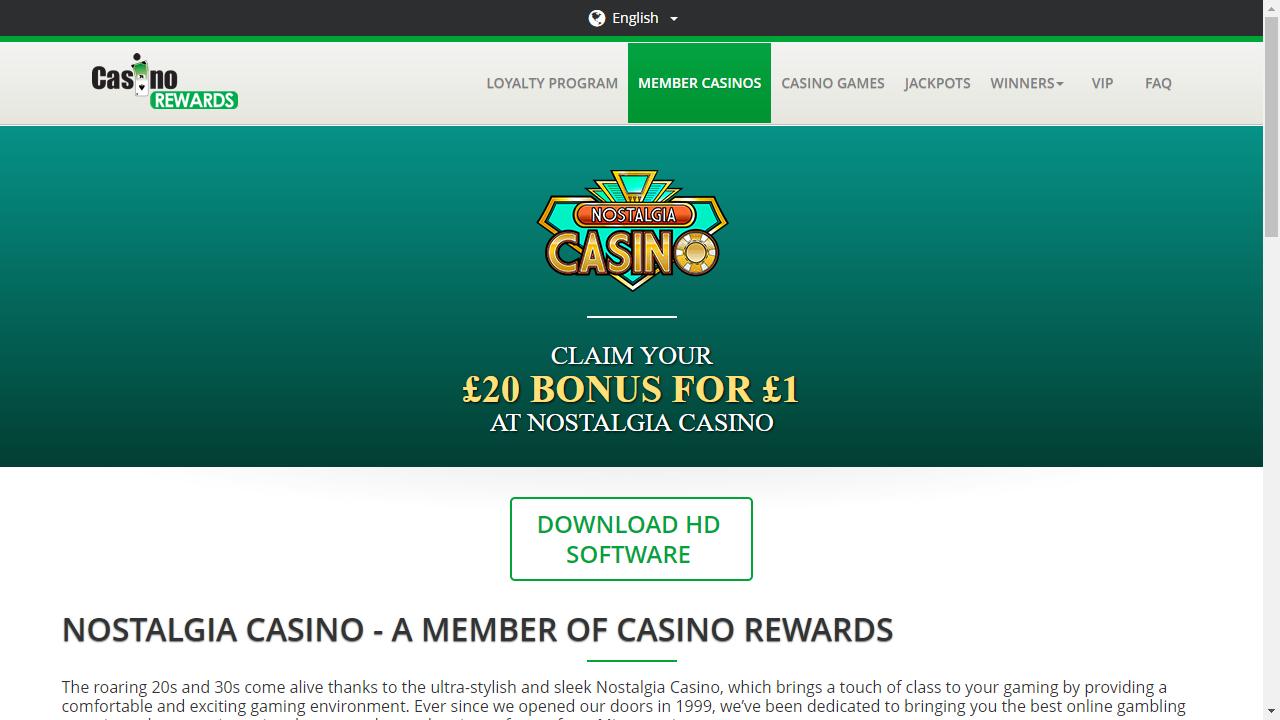 Nostalgia Casino Homepage