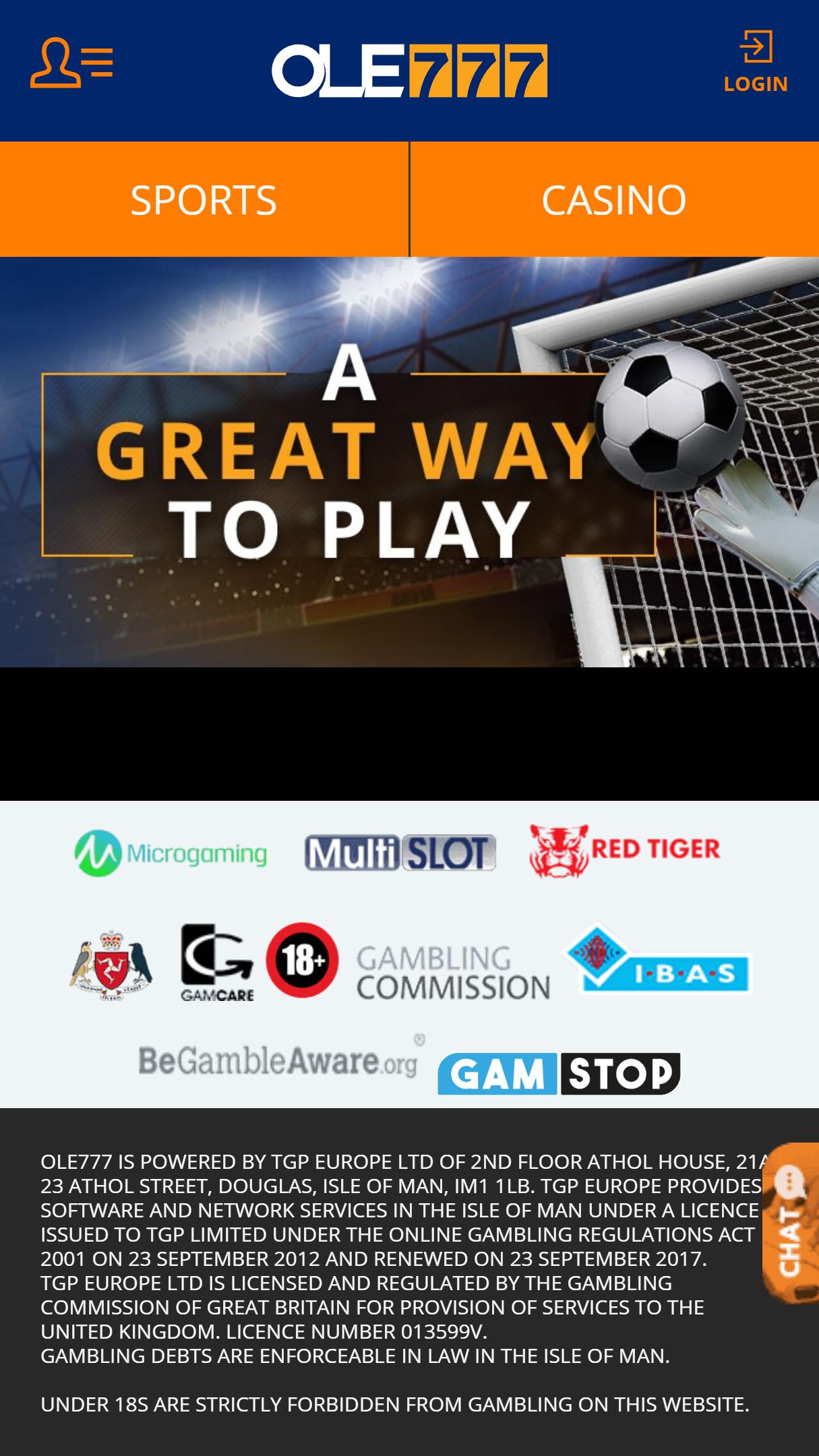 Ole777 Casino App Homepage