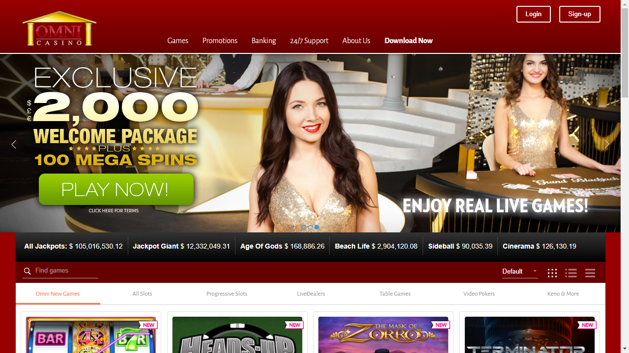 Omni Casino Homepage