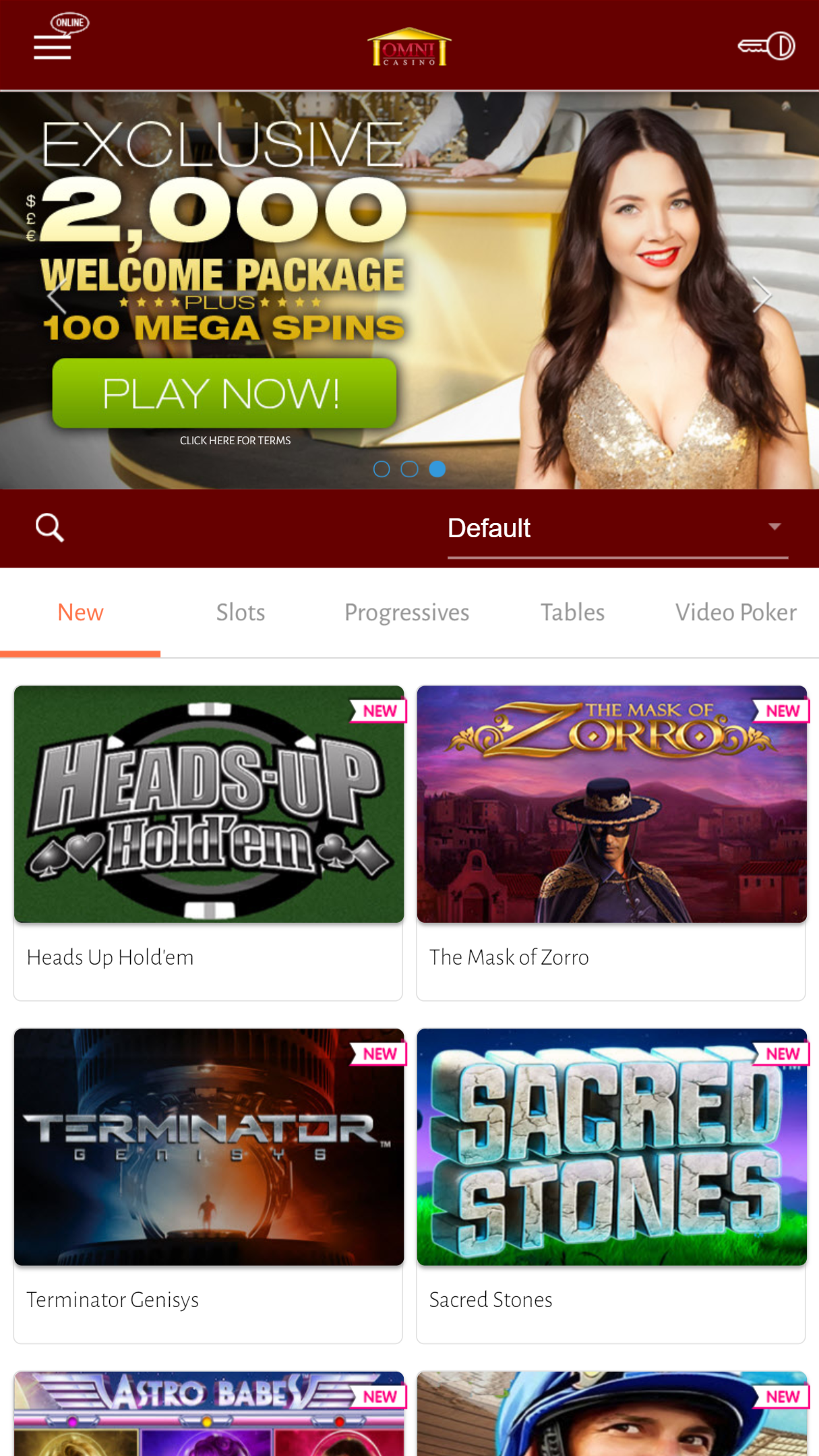 Omni Casino App Homepage