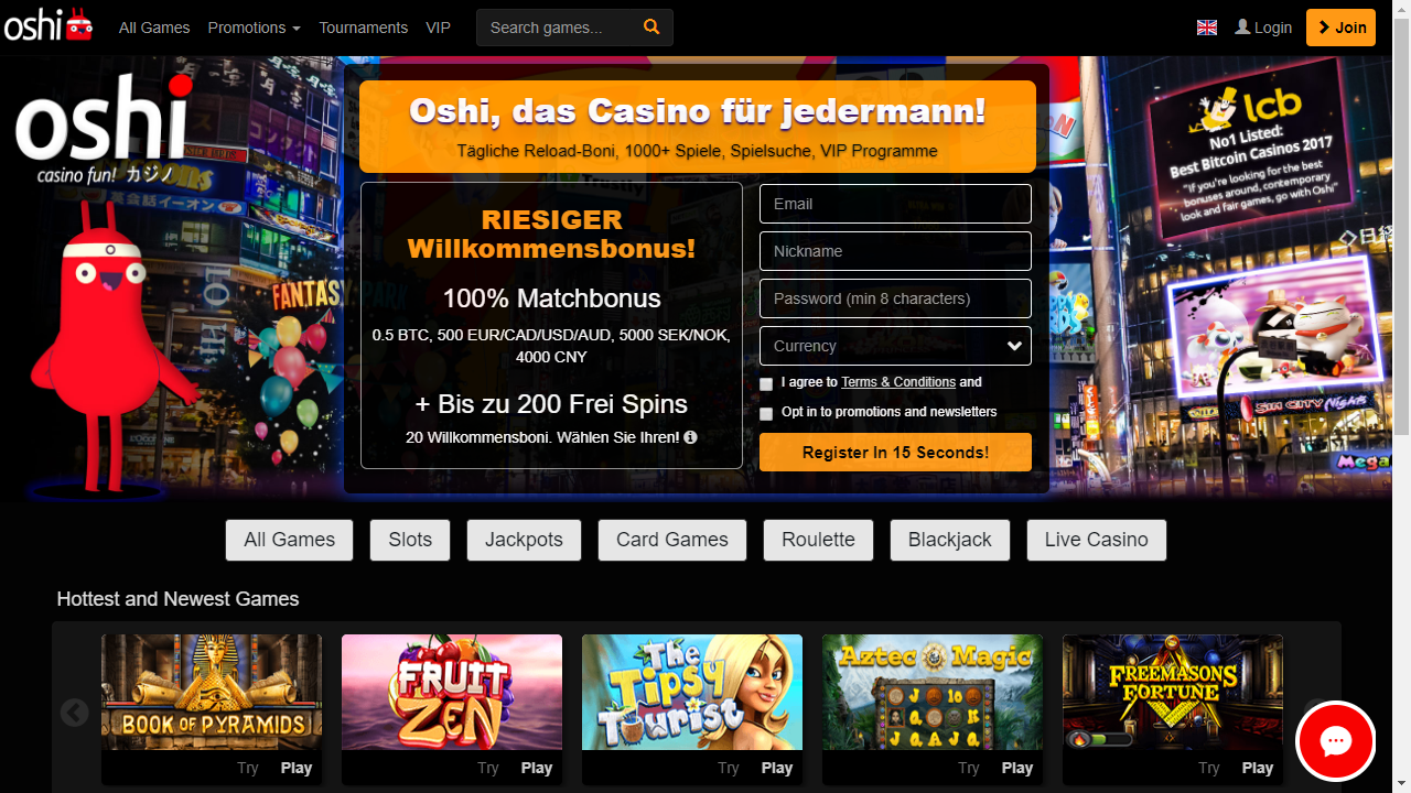 Oshi Casino Homepage